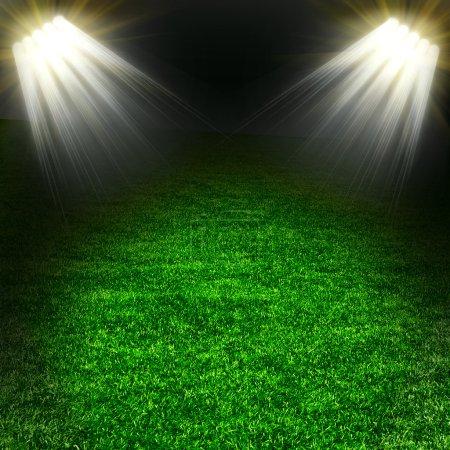 Photo pour Terrain de football vert avec lumière - image libre de droit