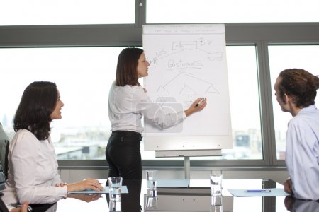 Photo for Group of office workers in a boardroom presentation - Royalty Free Image