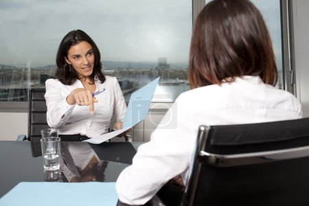 Photo for HR expert smiling during job interview - Royalty Free Image