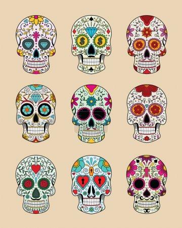 Illustration pour Set de Vector illustration des crânes dans la tradition mexicaine - image libre de droit