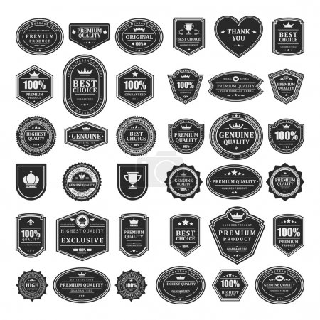 Illustration for Vintage style retro emblem label collection. Vector design elements. - Royalty Free Image