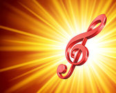 3d Music note and light rays vector background Eps 10