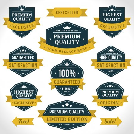 Illustration for Vintage labels or badges and ribbon retro style set. Vector design elements. - Royalty Free Image