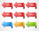Vector arrow sale stickers set 10 20 30 40 50 percent sale Transparent shadow easy replace background and edit colors