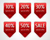 Vector arrow sale stickers set Transparent shadow easy replace background and edit colors