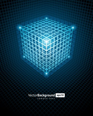 Illustration for Abstract technology wire cube vector background - Royalty Free Image