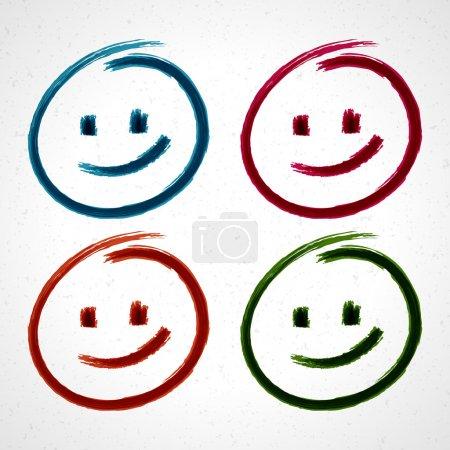 Illustration pour Visage sourire dessiné à la main. Ensemble d'éléments vectoriels eps 10 . - image libre de droit