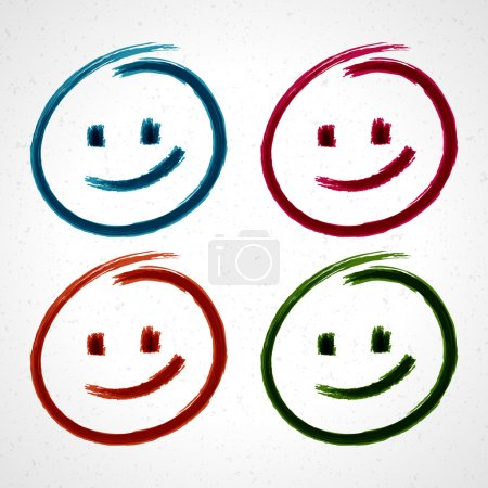 Illustration for Hand drawn smile face. Vector design elements set eps 10. - Royalty Free Image