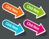 Vector click here message on arrow stickers set Transparent shadow easy replace background and edit colors