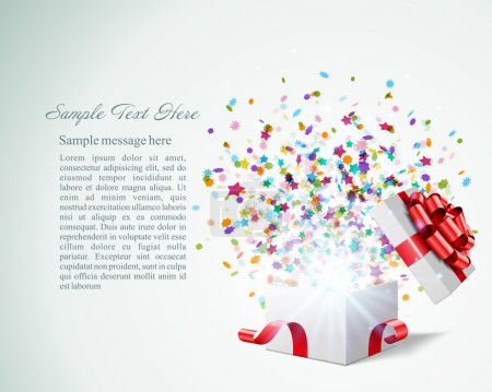 Open gift with fireworks from confetti vector background. Eps 10