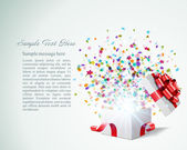 Open gift with fireworks from confetti vector background Eps 10
