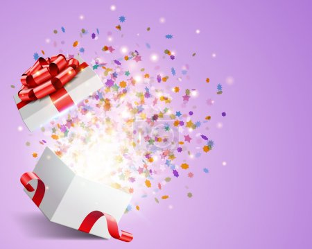 Illustration for Open gift with fireworks from confetti vector background. Eps 10 - Royalty Free Image
