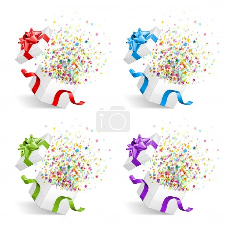 Illustration for Open gift with fireworks from confetti vector design elements set. Eps 10 - Royalty Free Image