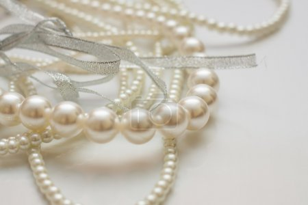 Cultured pearls on white
