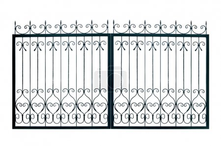 Photo for Light forged decorative gates. Isolated over white background. - Royalty Free Image