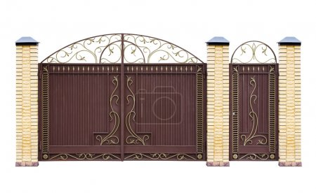Photo for Modern forged decorative gates for building. Isolated over white background. - Royalty Free Image