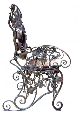 Forged Bench with grape ornament.