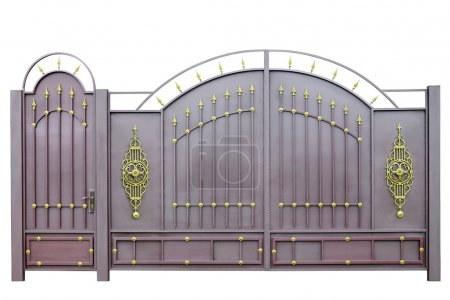Photo for Forged  decorative  gates  decorated by ornament. Isolated over white background. - Royalty Free Image