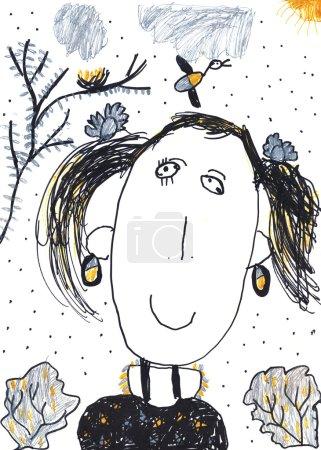 Photo pour Dessin au crayon d'enfant d'un gir risible - image libre de droit
