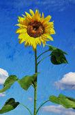 """Постер, картина, фотообои """"красивый Подсолнух. стиль художественной масляной живописи"""""""