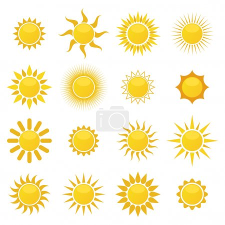Illustration for Set of sun. Vector - Royalty Free Image