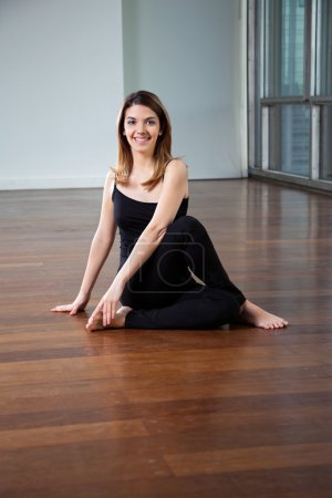 Happy Woman In Yoga Posture