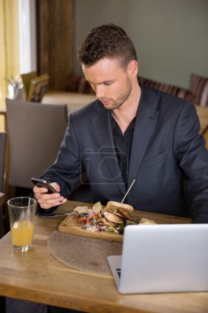 Businessman Using Mobilephone While Having Food