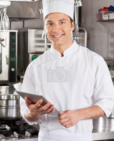 Handsome Chef With Tablet Computer