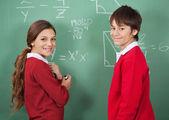 Portrait Of Teenage School Students Standing Against Board