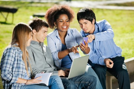Students With Using Mobilephone In University Campus