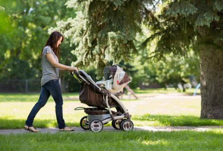 Mother Pushing Baby Carriage In The Park
