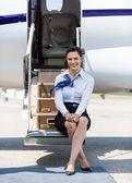 ül a létra a magán jet Air hostess