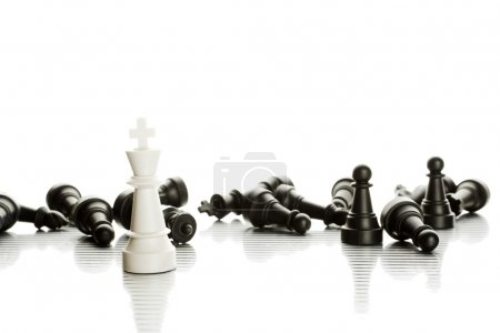 Photo for An army of black and white chess pieces. Isolate - Royalty Free Image
