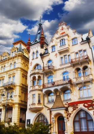 Building facades in Karlovy Vary, Czech Republic