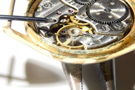 The mechanism of old watches on white background...