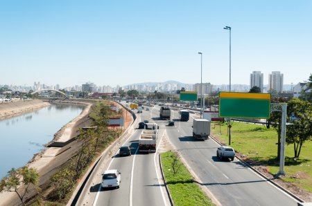 Photo for Traffic of vehicles in avenue in sao paulo city - Royalty Free Image