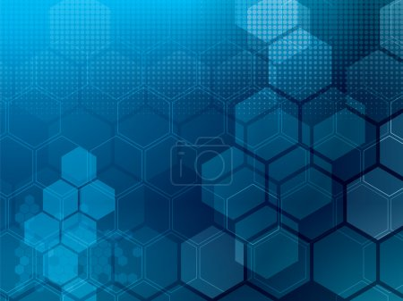 Illustration for Abstract blue background with hexagons and wires - Royalty Free Image