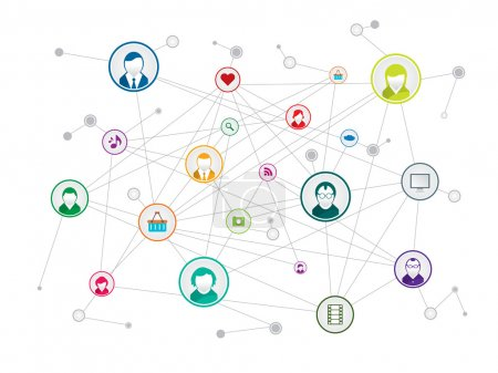 Illustration for Communication network in social media - Royalty Free Image