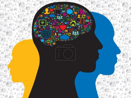 Brain in the social media icons