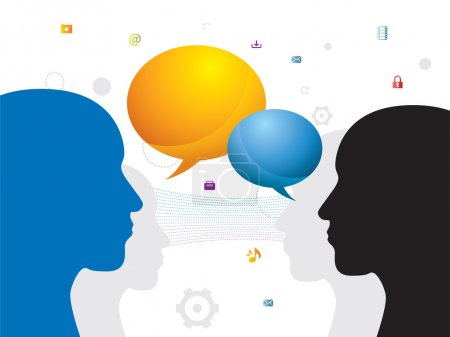 Illustration for Communication between people through chat on social network - Royalty Free Image