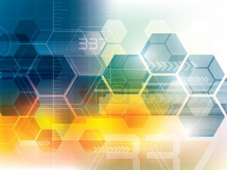 Illustration for Abstract background of futuristic technology and shapes of hexagons - Royalty Free Image