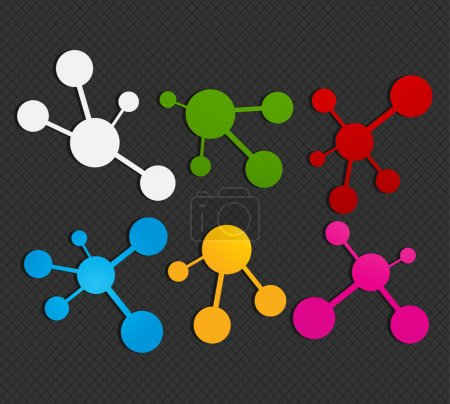 Illustration for Colorful molecule icon set vector illustration - Royalty Free Image
