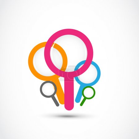 Colorful magnifying glass vector