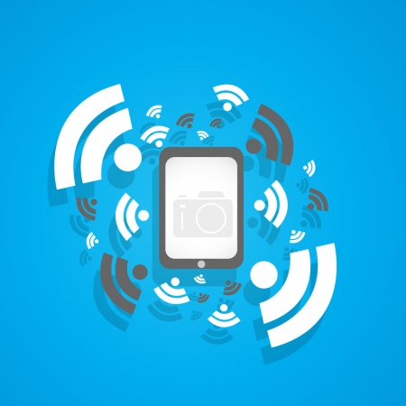 Illustration for Tablet computer rss wifi concept vector background - Royalty Free Image