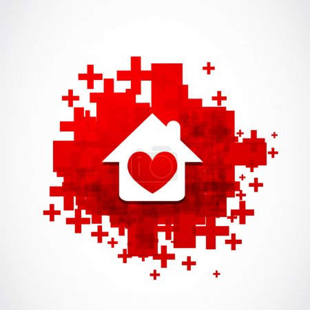 Illustration for Heart house concept abstract vector background - Royalty Free Image