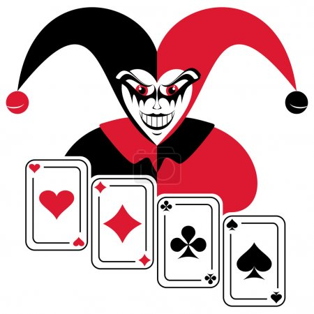 Illustration for Joker and four playing cards. Abstract composition on a white background. - Royalty Free Image