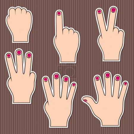 Illustration for Fingers show numbers. Set of stickers on a brown striped background. - Royalty Free Image