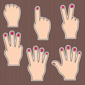 Fingers show numbers Set of stickers on a brown striped background