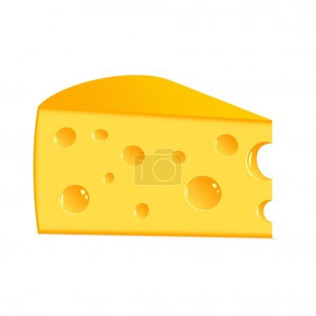 Illustration pour Morceau de fromage savoureux sur fond blanc . - image libre de droit