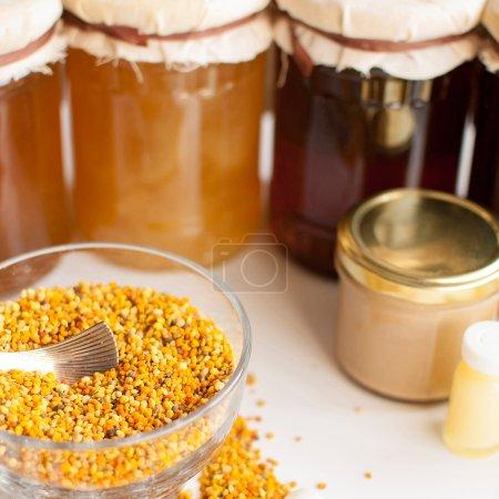Photo pour Variété de produits à base d'abeilles domestiques biologiques crues - image libre de droit